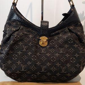 Louis Vuitton Black Denim Manhina Noir Hobo Bag